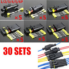30pcs Sealed Waterproof Motorcycle 1-6 Pin Electrical Wire Connector Plug Set