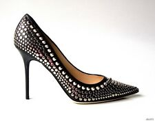new $1095 JIMMY CHOO 'Abel' black leather STUDDED SPIKE stiletto pump shoes 36 6