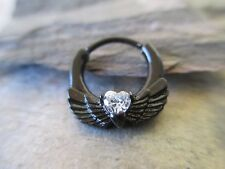 Black Angel Wings Heart CZ Septum Ring Clicker Hanger 16G (1.2mm) Piercing