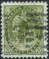 Canada #84 used VF 1900 Queen Victoria 20c olive green Numeral CV$160.00