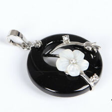 Party Gift Natural Black Onyx Flower Carved Shell Gems Silver Necklace Pendants