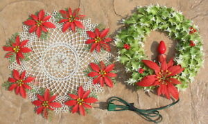 Vintage Plastic Christmas Lustroware Doily Red Light Up Holly Poinsettia Wreath