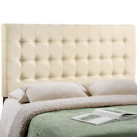 Modway Tinble Button-Tufted Upholstered Fabric Queen Headboard Size In Ivory