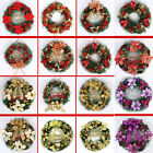 40Cm Christmas Large Wreath Door Wall Ornament Garland Decoration Red Bowknot AU