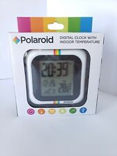 NEW Polaroid Digital Clock with Indoor Temperature White Rainbow Stripe