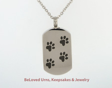 Heavy Dog Tag With Paw Prints Cremation Jewelry Pendant Keepsake Urn- Dog, Cat
