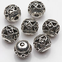 10/20Pcs Tibetan Silver Hollow Carved Spacer Beads Jewelry Finding Craft DIY 8mm