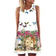 Vintage Boho Women Summer Sleeveless Beach Printed Short Mini Dress Top T Shirt #1 2xl