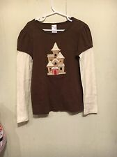 Gymboree Brown Long Sleeved Gingerbread House Tee Size 8