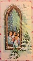 Vintage 1950s Noel Christmas Greeting Card Choir Boys Through Church Window