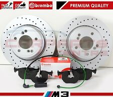 FOR BMW M3 E46 3.2 REAR PERFORMANCE DRILLED BRAKE DISCS BREMBO PADS WIRE SENSOR