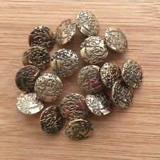 Gold colour metal effect patterned buttons 15mm shank on back per 5 buttons