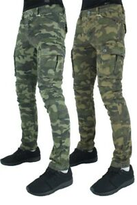 Men's Designer Cargo Combat Pants, Army Camo Green, Military Style, Jeans
