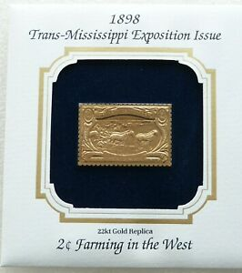 Trans-Mississippi Exposition Issue Farming 2 Cent 22KT Gold Stamp Replica