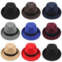 Fashion Men Women Felt Fedora Cap Trilby Hat Unisex Wool Blend Jazz Cap Size L