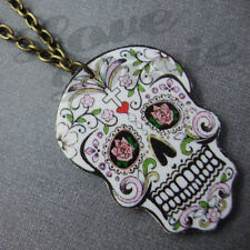 Mini Sugar Skull Day of the Dead Tattoo Necklace Kitsch Rockabilly Psychobilly 2