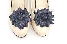 GENUINE LEATHER multi-color roses shoe clips | Leather flowers shoe decoration