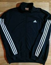 Adidas Vintage Mens Tracksuit Top Jacket Sweatshirt Black White Stripes