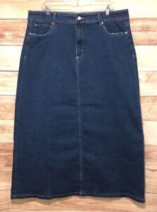 Esteez Blue Skirt Women's Size 16 Modest Denim Maxi 5 Pockets Brand New LBB76