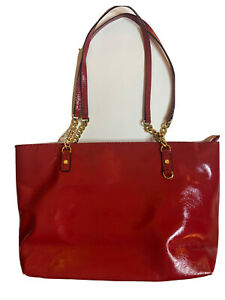 michael kors red handbag bag tote