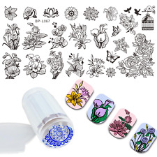 Born Pretty Nail Art Stamping Plates Flower Image Stamp Template Stamper Scraper