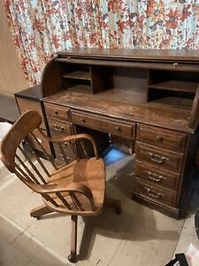 Vintage Antique Wooden Roll Top Desk