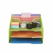 Mind Reader 5 Section Mesh Metal Desk File Organizer For Desk Accessories Green