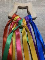 Star Shaped Rainbow Wooden Sensory Ribbon Ring Toy Baby Shower Gift Girl Boy