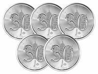 Lot of 5 - 2018 $5 1oz Canadian Silver Maple Leaf 30th Anniversary .9999