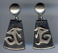 LEDESMA VINTAGE MEXICO STERLING SILVER DANGLE SCREWBACK EARRINGS