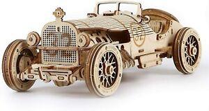 Grand Prix Car Wooden Model Kit Vintage Classic Style V8 Laser-Cut DIY Puzzle