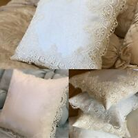 Twin Pack New Antique Lace White / Cream 16 x 16 Cushion Covers Traditional