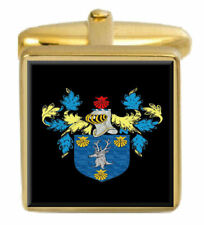 Holland Wales Family Crest Surname Coat Of Arms Gold Cufflinks Engraved Box