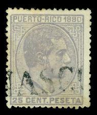 "PUERTO RICO 1880 ALFONSO XII 25c gray  Sc# 38 used w/ straight line ""ANASCO"" cxl"