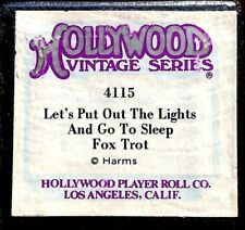 Hollywood LET'S PUT OUT THE LIGHTS AND GO TO SLEEP 4115 Player Piano Roll