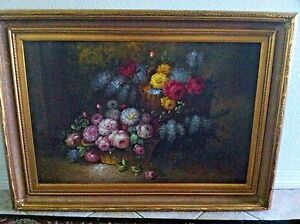 """Antique oil canvas floral painting wall art lrg formal gold frame 45""""(L) 33""""(H)"""