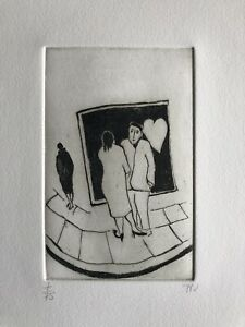 """TESSA NEWCOMB b1955 Limited Edition ETCHING """"February"""" 7/75 Love"""
