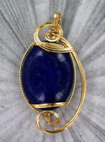 Large Lapis Lazuli Gemstone Pendant Necklace 14KT Rolled Gold Wire Wrapped