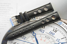 European Rally Racing Watch Strap 19mm Black Leather Hand Stitched Band