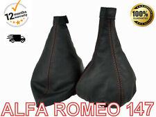 Alfa Romeo 147 2005-2010 Real Leather Gear Stick & Handbrake Gaiter Cover Red