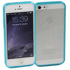 5 x BLUE iPHONE 5 / 5S APPLE HARD BACK CASES CLEAR TPU SILICONE BUMPER COVER M34
