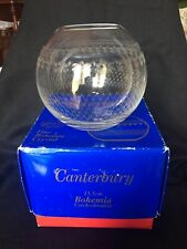 VINTAGE ETCHED CRYSTAL ROSE BOWL BOHEMIA PALL MALL CANTERBURY PATTERN