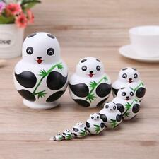 10pcs/Set Basswood Panda Nesting Dolls Handmade Matryoshka Dolls Wood Toys  #ORP