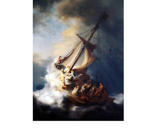 Storm Boat Ship Ocean People Sea Waves Paint By Numbers Canvas Wall Art Painting