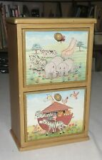 Noah's Ark Two-Drawer Wooden Small Cabinet 11.3 x 6.75 x 4 inches