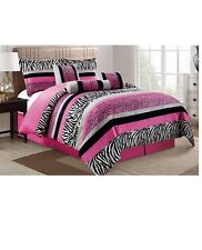 7 Piece Hot Pink Black White Leopard Zebra Micro Fur Comforter Set QUEEN SIZE