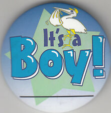 "It's A Boy Birth Announcement Button Pin, 2"" x 2"", New, Pin Back"