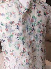1950S Hawaiian Shirt Vintage Cabana Nylon Tropical Surf Palm Tree Print Rare