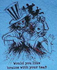 Alice In Wonderland Zombie Would You Like Brains With Your Tea? Shirt Large NEW