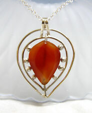 Big Statement Natural Honey Agate in Solid Sterling Silver Pendant From Canada